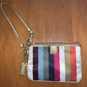 "Coach ""Julia"" Legacy Stripe Multicolor wristlet"